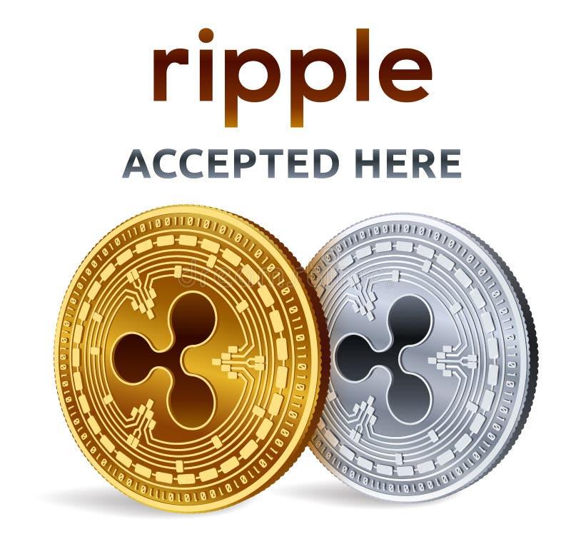 ondulation Emblème admis de signe Crypto devise Pièces d'or et en argent avec le symbole d'ondulation d'isolement sur le fond bla illustration stock