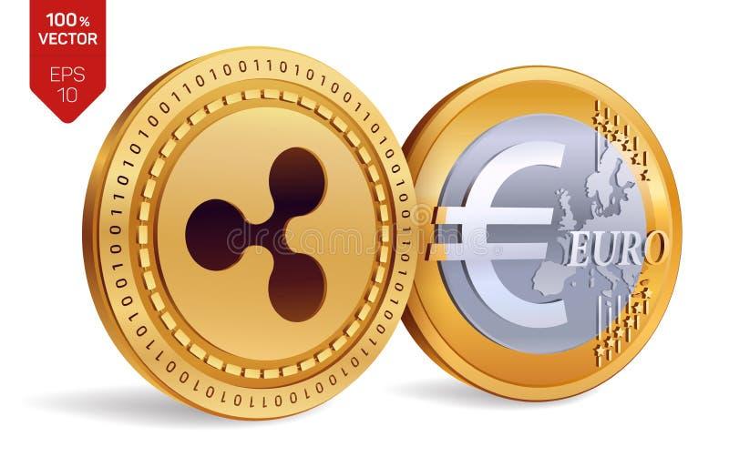 ondulation Euro pièce de monnaie pièces de monnaie 3D physiques isométriques Devise de Digital Cryptocurrency Pièces de monnaie d illustration libre de droits
