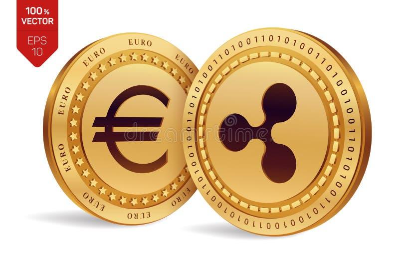 ondulation Euro pièce de monnaie pièces de monnaie 3D physiques isométriques Devise de Digital Cryptocurrency Pièces de monnaie d illustration stock