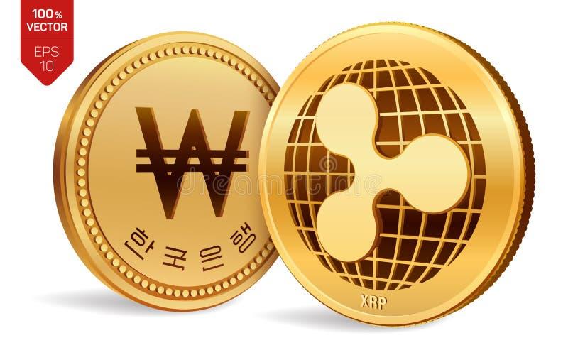 ondulation gagné pièces de monnaie 3D physiques isométriques Devise de Digital La Corée a gagné la pièce de monnaie Cryptocurrenc illustration libre de droits