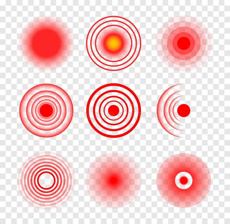 Ondulation médicale de vecteur de cercle rouge de cible Endroit blessé endolori de tache Cible rouge de mal de douleur de symbole illustration de vecteur