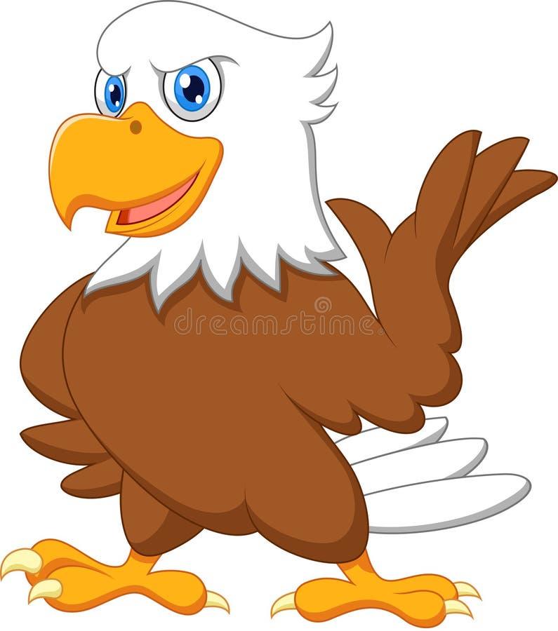 Ondulation mignonne de bande dessinée d'aigle illustration de vecteur