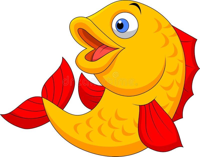 Ondulation mignonne de bande dessinée de poissons illustration stock