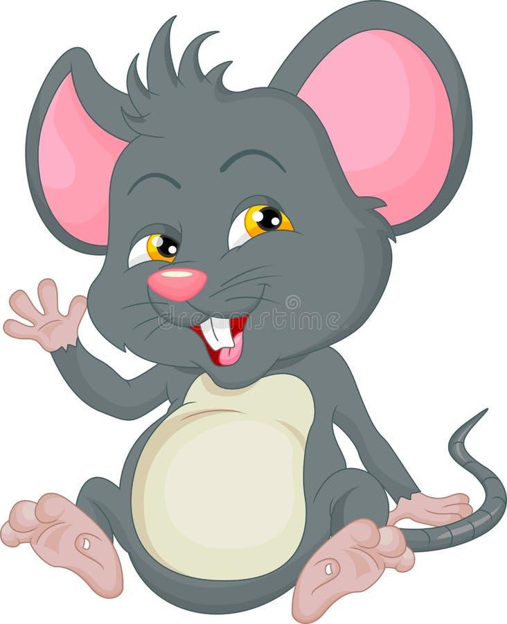 Ondulation mignonne de bande dessinée de souris illustration stock
