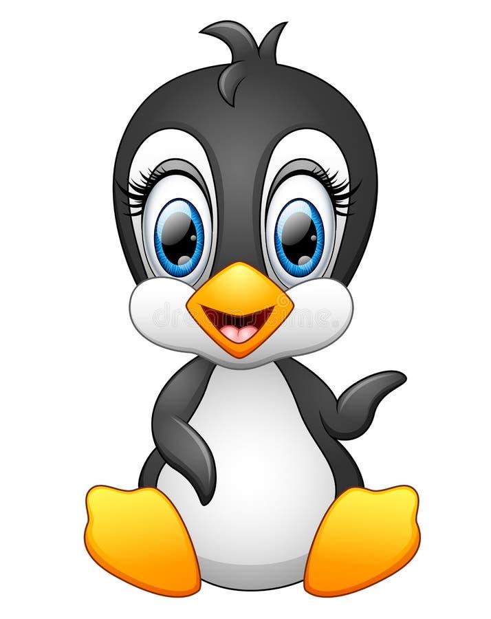 Ondulation mignonne de pingouin de bande dessinée illustration de vecteur