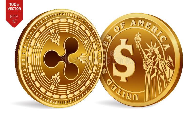 ondulation Pièce de monnaie du dollar pièces de monnaie 3D physiques isométriques Devise de Digital Cryptocurrency Pièces de monn illustration de vecteur
