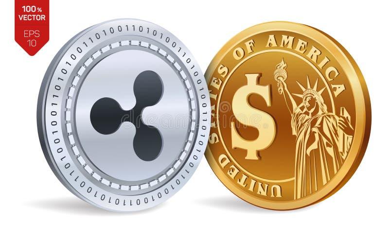 ondulation Pièce de monnaie du dollar pièces de monnaie 3D physiques isométriques Devise de Digital Cryptocurrency Pièces d'or et illustration stock