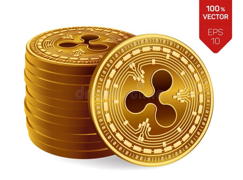 ondulation pièces de monnaie 3D physiques isométriques Devise de Digital Cryptocurrency Pile de pièces de monnaie d'or avec le sy illustration stock