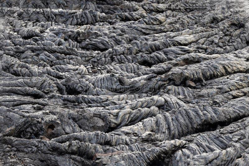 Ondulations congelées dans le domaine de lave de pahoehoe, grande île, Hawaï images libres de droits