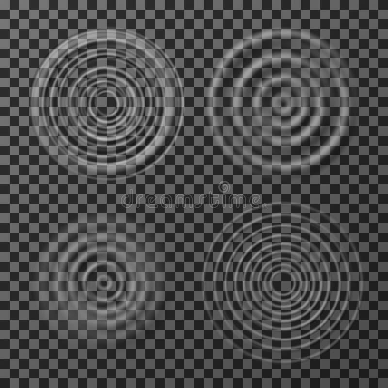 Ondulations de l'eau Ondulations circulaires d'impact sain Vue supérieure de cercles concentriques d'isolement sur le fond transp illustration libre de droits