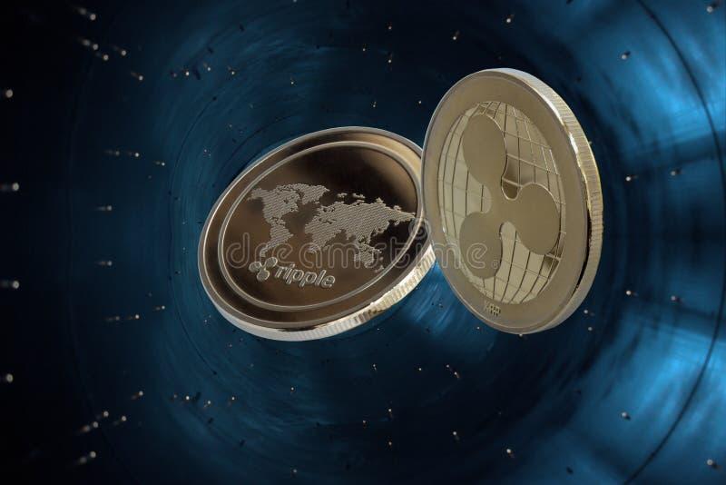 Ondulazione cripto della moneta di valuta in acceleratore blu immagini stock libere da diritti