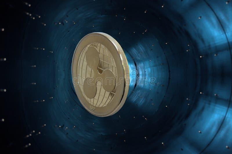 Ondulazione cripto di valuta dell'oro - particella dell'acceleratore fotografie stock