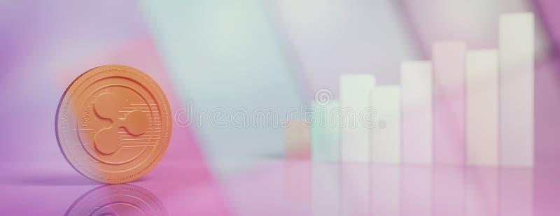 Ondule, cryptocurrency en el fondo de las cartas de barra de la falta de definición, bandera, espacio de la copia ilustración 3D stock de ilustración
