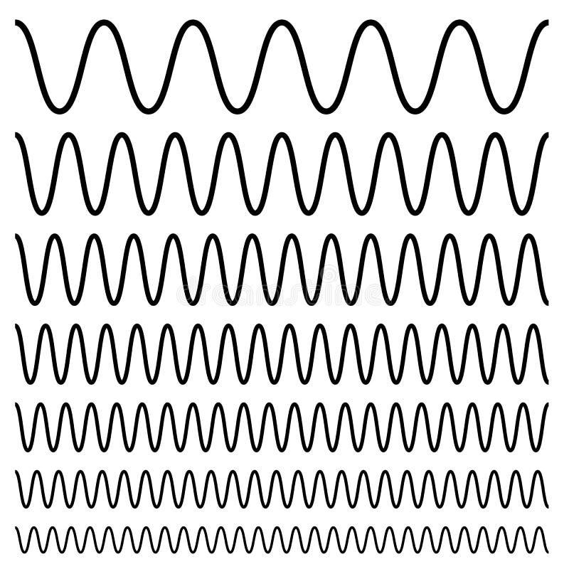 Onduleux, entrecroisé, lignes de zig-zag Ensemble de différents niveaux illustration libre de droits