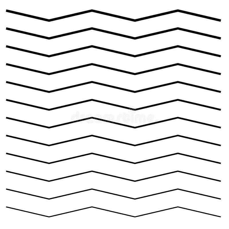 Onduleux, entrecroisé, lignes de zig-zag Ensemble de différents niveaux illustration de vecteur