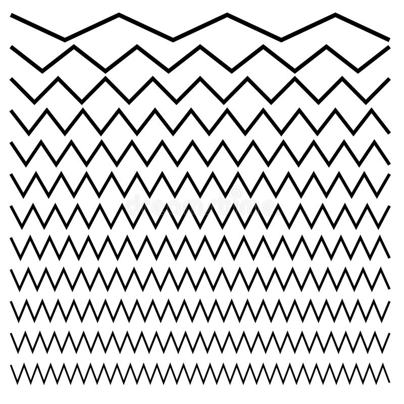 Onduleux, entrecroisé, lignes de zig-zag Ensemble de différents niveaux illustration stock