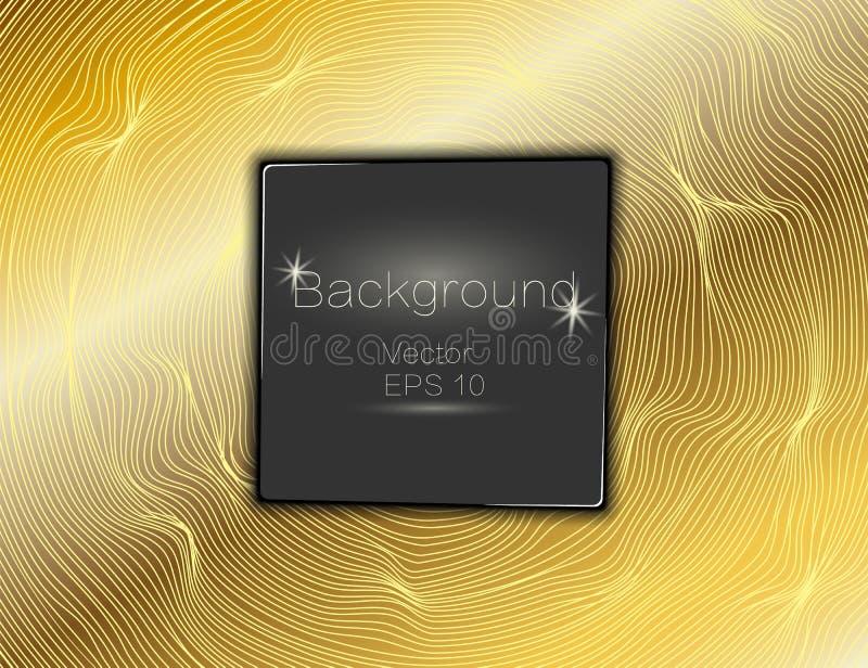 Or onduleux, lignes luxe Fond de rayures d'or de texture de vecteur avec le plat carré foncé L'enroulement de la bande Panneau de illustration libre de droits