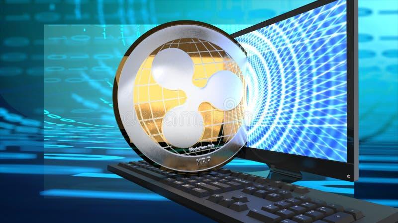 Ondulez la pièce de monnaie numérique, rival de bitcoin, la crypto devise qui monte en valeur illustration de vecteur