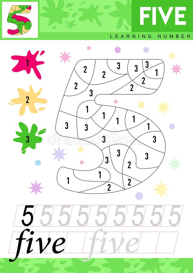 Learn numbers 5. Five. Kids learn to count worksheet. Children educational game for numbers. Vector illustration. royalty free illustration