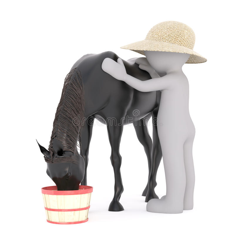 Free One 3D Rendered Figure Pets His Black Horse Stock Photos - 83396933