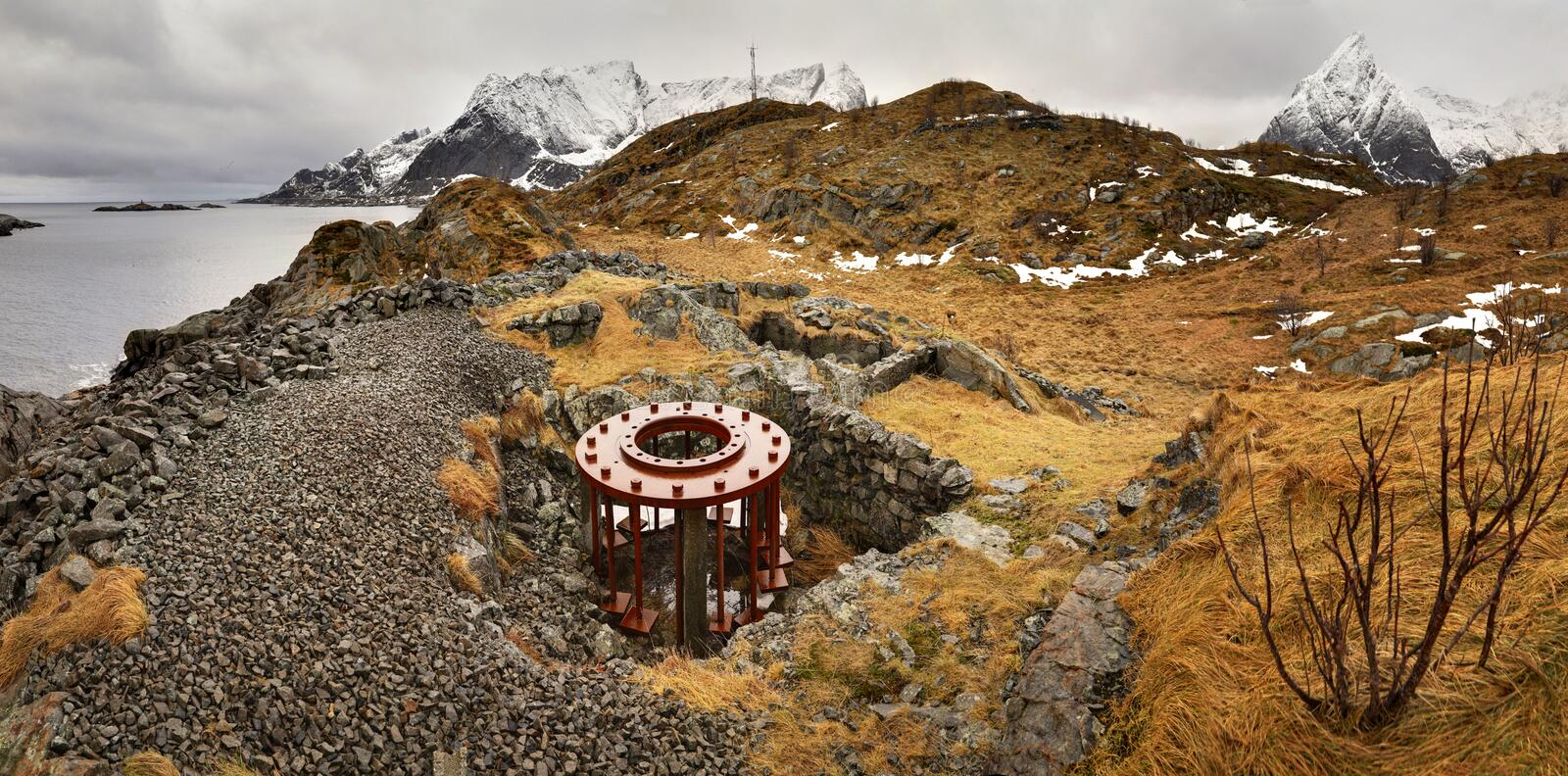 Abandoned german fortification with unfinished circle base for artillery gun from  WWII near Reine / Moskenes in Lofoten, Norway. One of the abandoned german stock photos