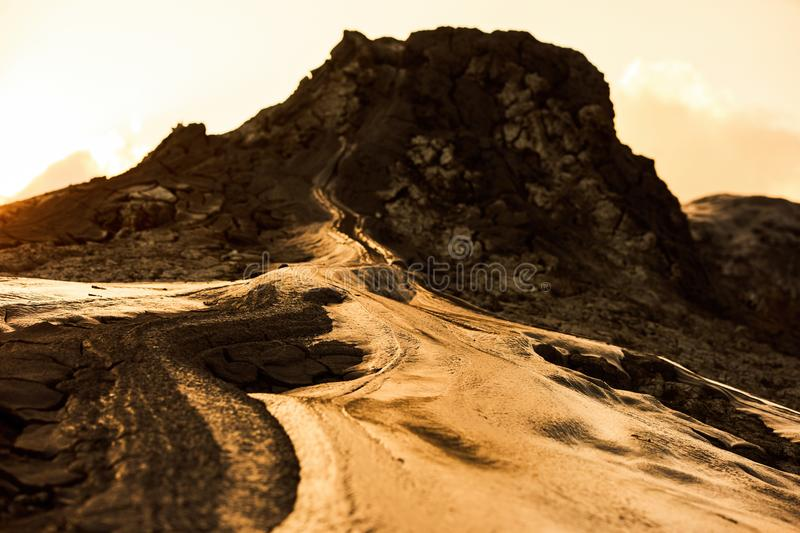 One of the active mud volcanoes. Volcanic lava. One of the active mud volcanoes, close-up. Dramatic majestic nature view royalty free stock photos