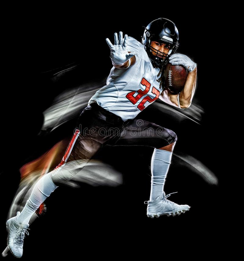 American football player man isolated black background light painting stock images