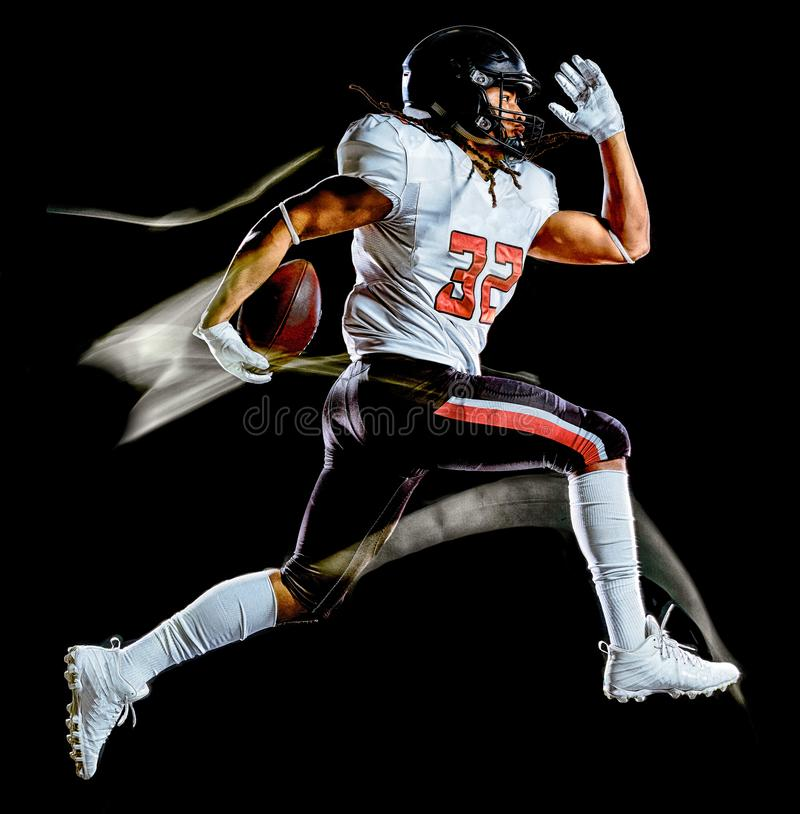 American football player man isolated black background light painting stock photo