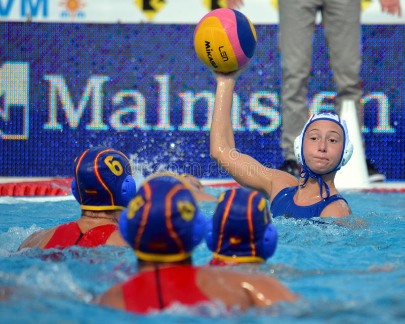 One against three. Russia - Spain 10-9. Budapest, Hungary - Jul 16, 2014. One against three. Russia - Spain 10-9. The Waterpolo European Championship was held stock image