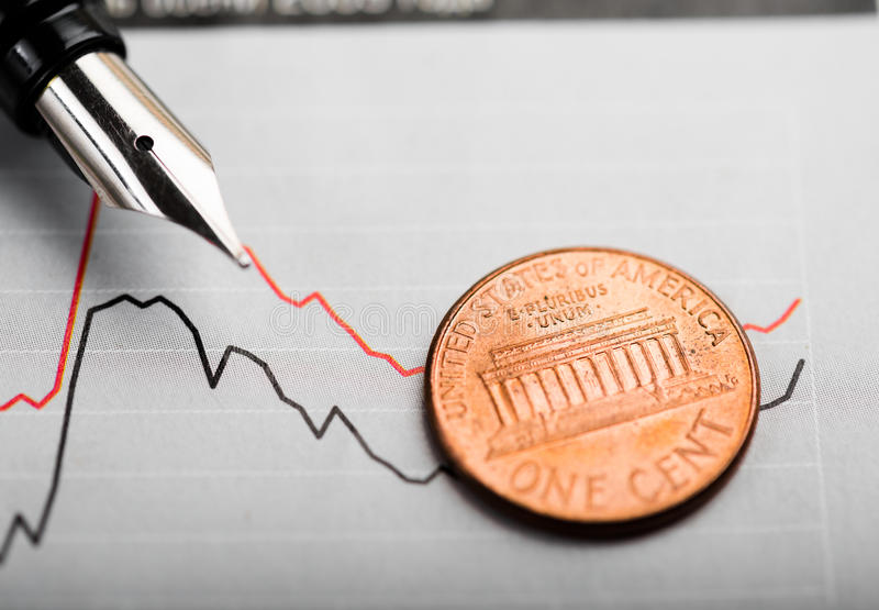 One american cent on chart stock photos