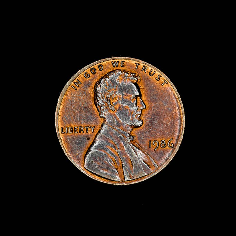 One american cent coin on black background stock photo