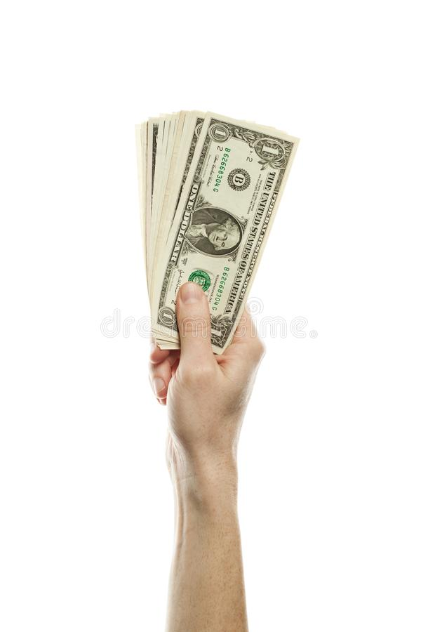 One American dollars cash money in male hand isolated. Tips and tax concept with 1 US Dollars banknote royalty free stock image