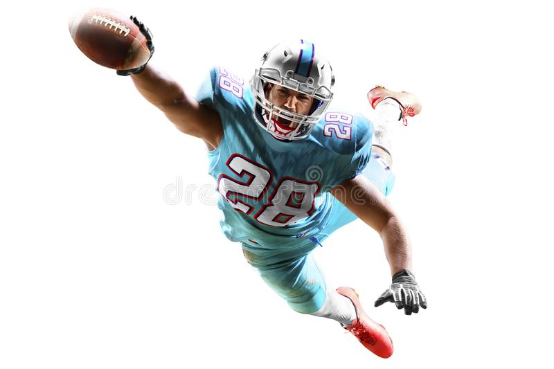 One american football player man studio isolated on white background royalty free stock images