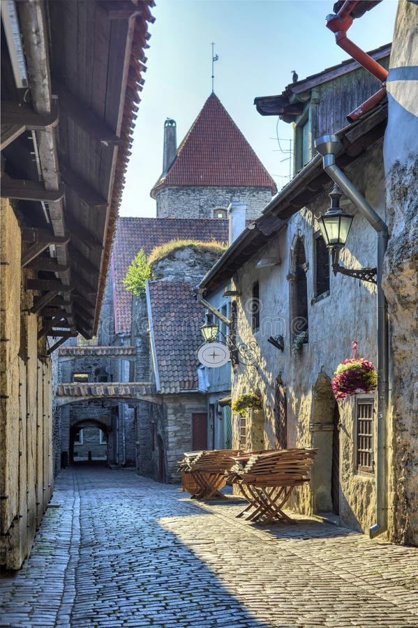 One of the ancient alleys of old Tallinn. stock photography
