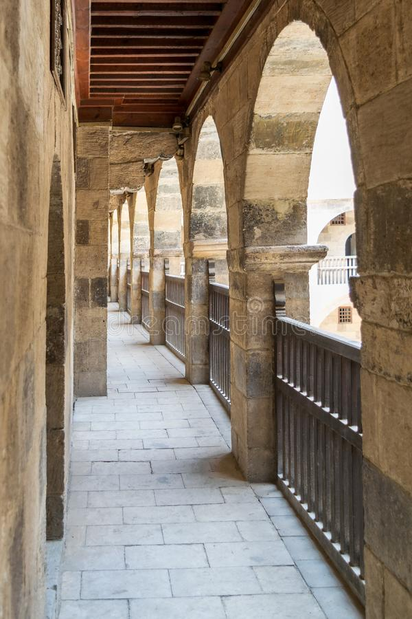 One of the arcades surrounding the courtyard of caravansary of Bazaraa, Cairo, Egypt stock photo