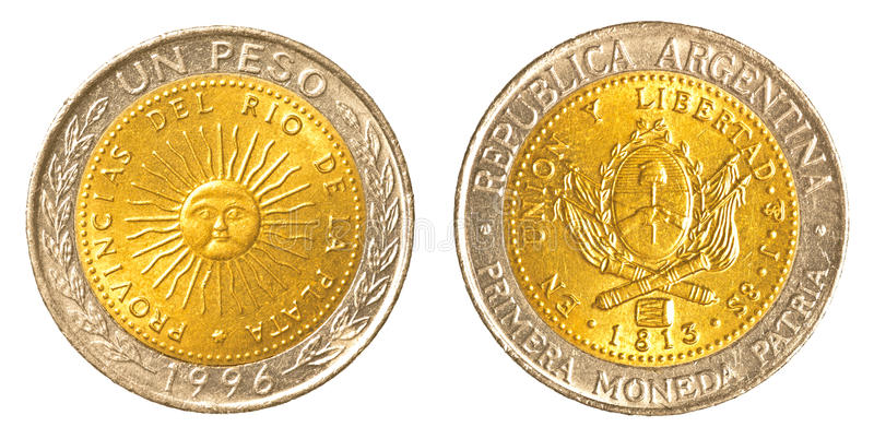 One argentinian peso coin. Isolated on white background stock photos