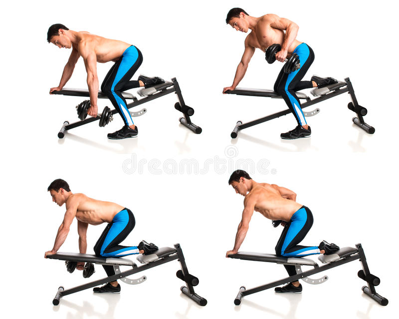 One Arm Dumbbell Row royalty free stock photo