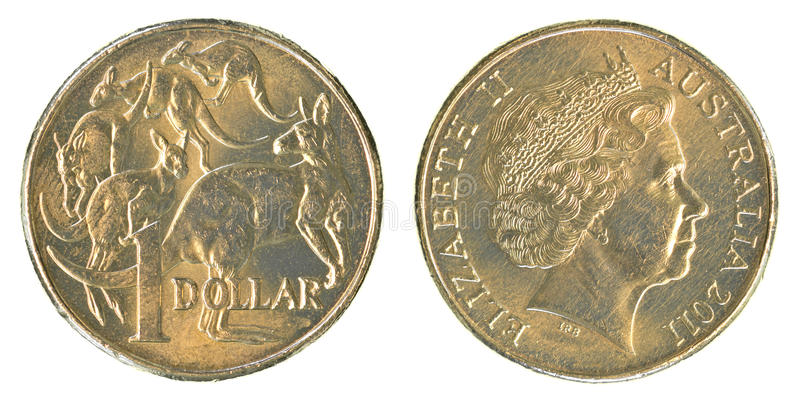 One Australian dollar coin. Isolated on white background stock photos