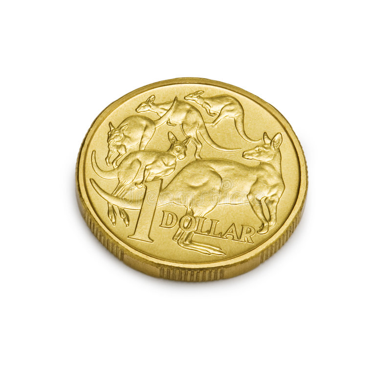 One Australian Dollar Coin Money. An Australian dollar coin isolated on a white background. 3/4 view royalty free stock photography