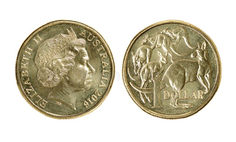 One Australian dollar coin. Isolated on white background royalty free stock photo