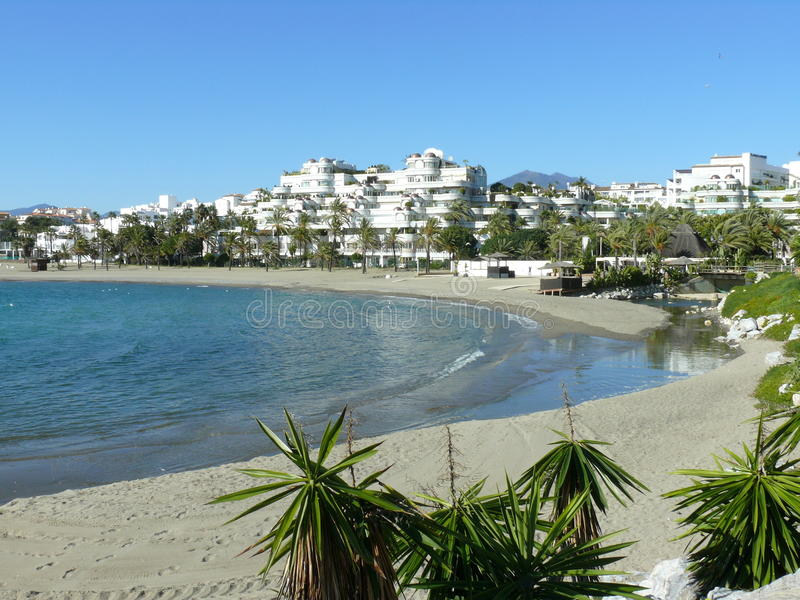 One beach of Puerto Banus located south of Spain stock photo