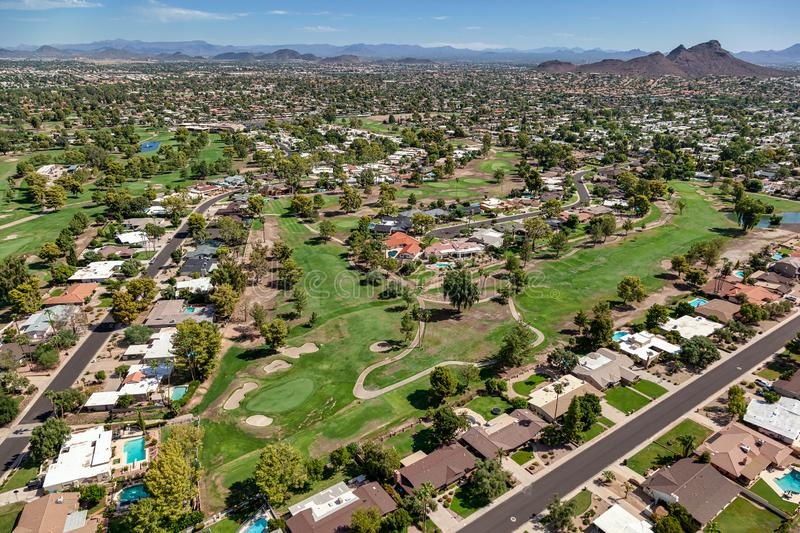 One of the beautiful golf courses in the valley of the sun, Phoenix, Arizona. Aerial view of one of the beautiful golf courses in the valley of the sun, Phoenix royalty free stock image