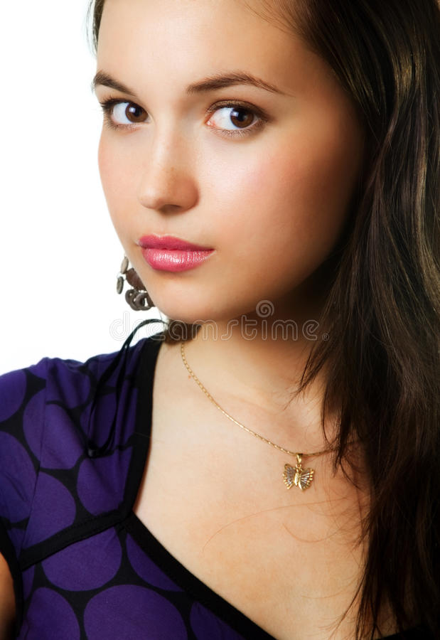 One beautiful young sensual cute woman royalty free stock photos