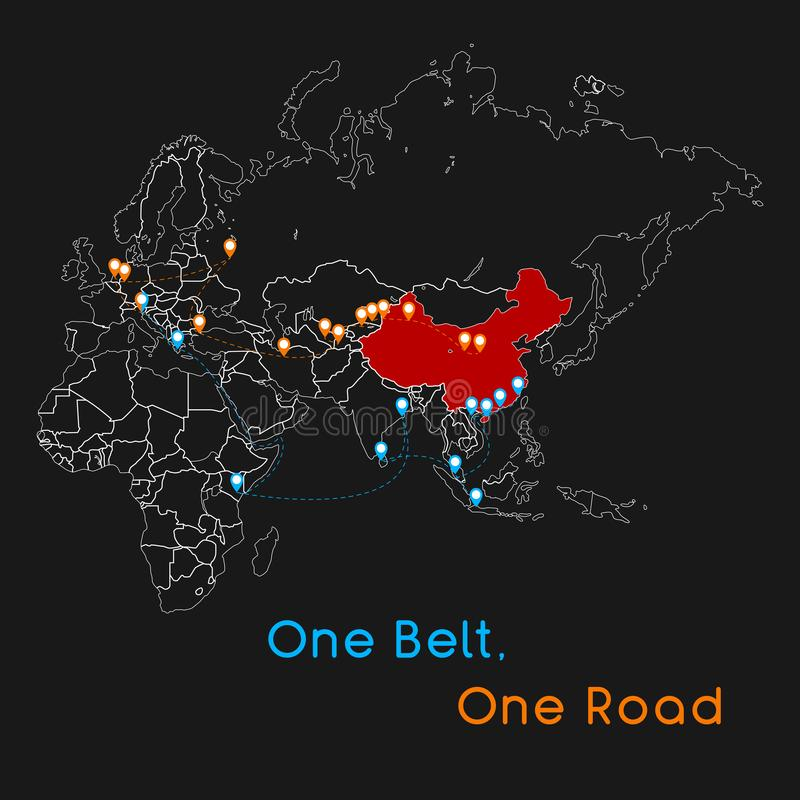 One Belt One Road new Silk Road concept. 21st-century connectivity and cooperation between Eurasian countries. Vector illustratio stock illustration