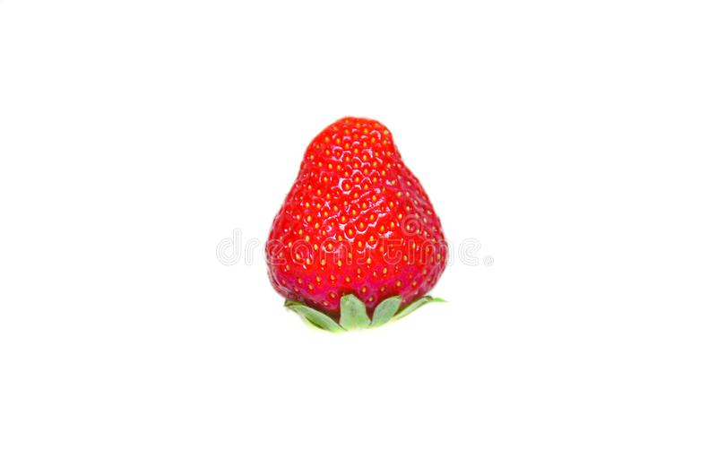 One berry. Three berries. Isolated strawberries. Strawberry. Berries of a strawberry on a white background. Homemade strawberry. T royalty free stock images