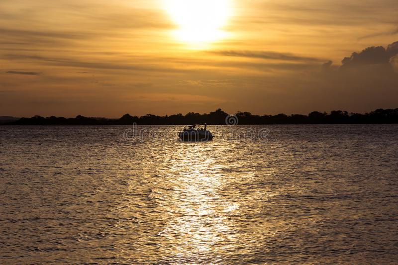 One of the best sunsets in Brazil. This in one of the best sunsets in brazil. This is the city of Porto Alegre. It´s the Guaíba River royalty free stock images