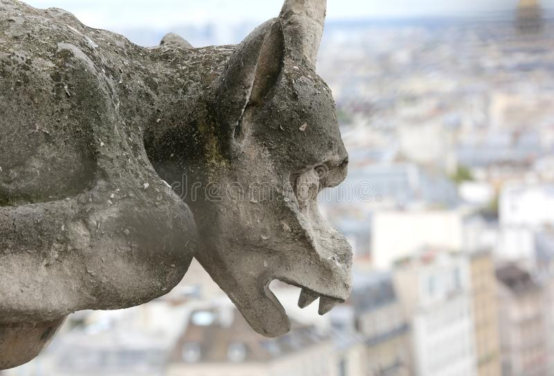 One big Gargoyle of Notre Dame the Paris. In France stock photo