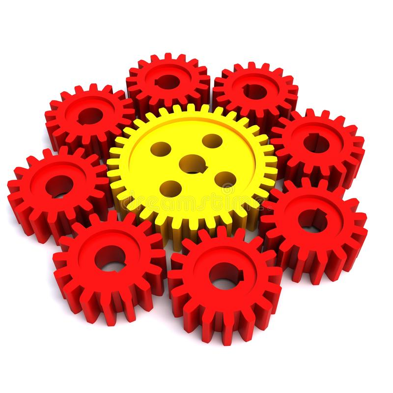 One big gear and eight small gears stock illustration