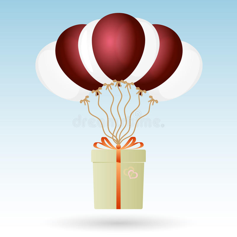 One big gift package soaring with seven helium balloons vector illustration