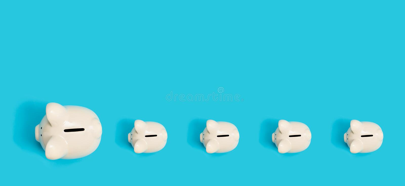 One big piggy leading other piggys. One big piggy bank leading other piggys vector illustration